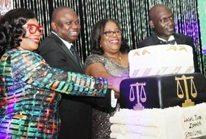 Lagos State Governor, Mr. Akinwunmi Ambode (2nd left), Chief Judge of Lagos State, Hon. Justice Olufunmilayo Atilade (2ndright), Hon. Justice Opeyemi Olufunmilayo Oke (left) and the Chief Registrar of Lagos High Court, Mr. Emmanuel Ogundare (right), jointly cutting the anniversary cake to mark the 2015/2016 Legal Year, at the Law School, Victoria Island, Lagos, on Friday, October 2, 2015.