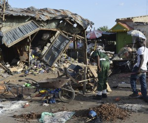 A Boko Haram attack site in Maiduguri
