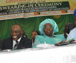 R-L: Lagos State Governor, Mr. Akinwunmi Ambode with his Deputy, Dr. (Mrs) Oluranti Adebule, Representative of Chief Judge of Lagos State, Justice Lawal Akapo and   Senator Ganiyu Solomon, during the Swearing-in ceremony of Commissioner and Special Advisers, at the Adeyemi Bero Auditorium, the Secretariat, Alausa, Ikeja, on Monday, October19, 2015.