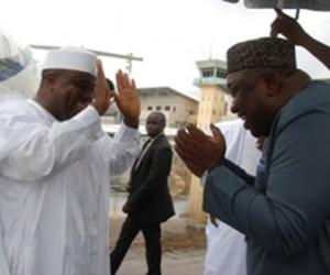 Governor Ifeanyi Ugwuanyi of Enugu State (r) welcoming the Sokoto State governor, Aminu Waziri Tambuwal at the Nnamdi Azikiwe International Airport, Enugu, weekend