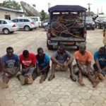 Police parade 7 suspected PHEDC cable vandals, one tricycle thief