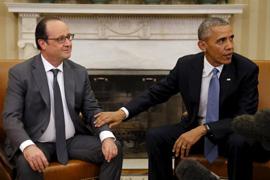 Barack Obama (r) and Francois Hollande
