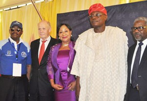(L-r):  Vice President and Chairman Trade Promotion Board The Lagos Chamber of Commerce and Industry (LCCI) Dr Michael Olawale -Cole, Executive Director, Sale and Marketing Service, Dangote Cement Plc, Mr Kunt Ulvmoen, Deputy Vice President (LCCI) /Former Minister of Industry Mrs Nike Akande, President (LCCI) Mr Remi Bello, and Executive Director Stakeholders and Corporate Communication Dangote Group Engr Mansur Ahmed, at the Dangote Special Day at the ongoing Trade Fair held at TBS in Lagos on  Wednesday 11/11/2015.
