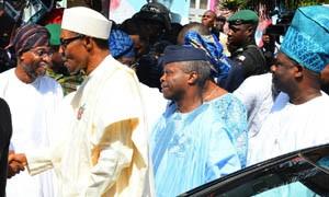 President Muhammadu Buhari (second right); his Vice, Professor Osinbajo (second right); Governor Aregbesola (left); and Ogun State Governor, Senator Ibikunle Amosun (right) arriving for the event