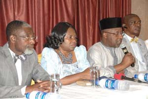 (L-R): Immediate Past President, Nigeria Institute of Quantity Surveyors, NIQS, Agele Alufohai, Deputy President, NIQS, Mercy Iyortyer, President, NIQS, Murtala Aliyu and Vice-President, NIQS, Adegbemiro Ogunfidodo, during the 26th biennial conference/General Meeting to put forward the activities of the institution on their one week National Conference to be held at Oriental Hotel Lagos starting from today, held in Lagos, Monday