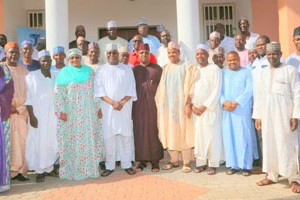 Former Vice President and chieftain of All Progressives Congress, Atiku Abubakar (6th from Right) flanked by Adamawa State Governor Umar Bindow (5th from Right) and Taraba State Governor-elect and minister-designate, Senator A'isha Alhassan (8th from Right) and members of the Taraba APC state executive during a courtesy visit by the Taraba Governor-elect and the state APC executive to his residence, in Asokoro, Abuja on Sunday, 08 November 2015.