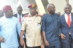 (L-R): Lagos State Governor, Mr. Akinwunmi Ambode; with Corps Marshal & Chief Executive Officer, Federal Road Safety Corps, Mr. Oyeyemi Boboye and Commissioner for Transportation, Dr. Dayo Mobereola (right); during the Traffic Management & Transportation Summit  with theme; Tackling Current, Evolving and Future Traffic Management Needs of Lagos State, organised by the State Ministry of Transportation, at the Civic Centre, Ozumba Mbadiwe Street, Victoria Island, Lagos, on Thursday,