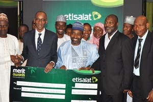 (L-R): Director, Counseling Centre, Ahmadu Bello University (ABU), Zaria, Adisa Salman; Vice President, Regulatory and Corporate Affairs, Etisalat Nigeria, Mr. Ibrahim Dikko; Dean Student Affairs, ABU, Prof. Mohammed Sani; HOD, Department of Electrical and Computer Engineering, ABU, Prof. Mohammed Bashir, and the Deputy Director, Colleges of Education, Federal Ministry of Education, Mr. Ezekiel Funsho at the 2015 Etisalat Merit Awards held in Abuja on Thursday, November 12.