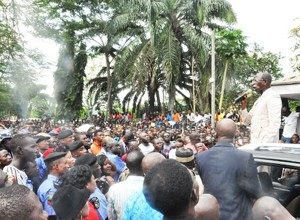 Governor Oshiomhole addressing students, civil society groups at the rally, Wednesday