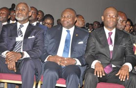 Lagos State Governor, Mr. Akinwunmi Ambode (middle); Chief Executive Officer/ Group Managing Director, Access Bank, Mr. Herbert Wigwe (right) and former Chairman, Board of Access Bank Plc., Mr. Gbenga Oyebode (left), during the Access Leadership Conference 2015 with the theme - Leading a Transformational World: The Imperative of Innovation, at the Eko Hotels &Suites, Victoria Island, Lagos, on Thursday, December 10, 2015.  PIX 0199: Lagos State Governor, Mr. Akinwunmi Ambode (right), discussing with President, Nigeria Stock Exchange (NSE), Mr. Aigboje Aig-Imoukhuede (left) while former Chairman, Board of Access Bank Plc., Mr. Gbenga Oyebode (middle), looks on, during the Access Leadership Conference 2015 with the theme - Leading a Transformational World: The Imperative of Innovation, at the Eko Hotels &Suites, Victoria Island, Lagos, on Thursday