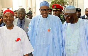 "(L-R): Minister of Science and Technology Dr Ogunnaya Onu, President Muhammadu Buhari and former Vice President Atiku Abubakar on arrival at Yar'Adua Center for the public presentation of the book ""From Opposition to Governing Party: Nigeria's APC Merger Story""  written by Onu in Abuja on Monday"