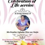Celebration of Life Service holds for Mrs. Rosaline Aigbadan Ehize nee Omijie in America