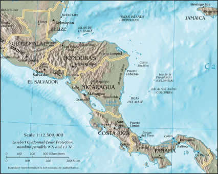 Map of Central America and Panama