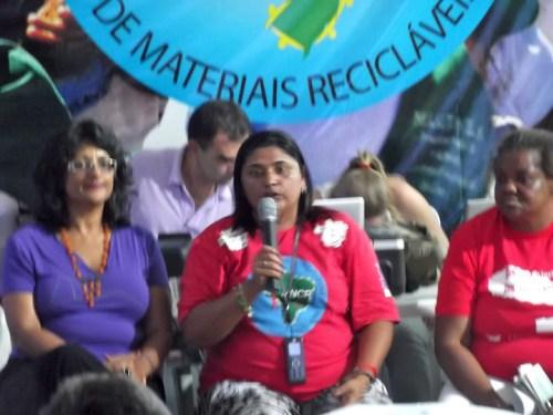 Maria Mônica speaks at gender panel.