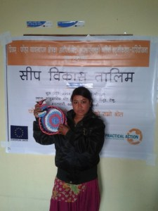Nepal waste picker with crafts