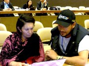 Preparing the speech to be delivered at the plenary. Photo: Lucia Fernandez.