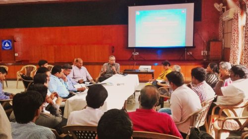 Mr. K. Narayan, MD, NSKFDC in the workshop hosted by the Alliance of Indian Wastepickers.