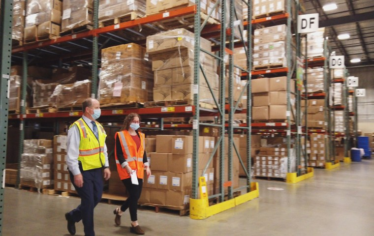 A reporter is given a tour of Northwell Health's 85,000 square foot procurement warehouse in New York