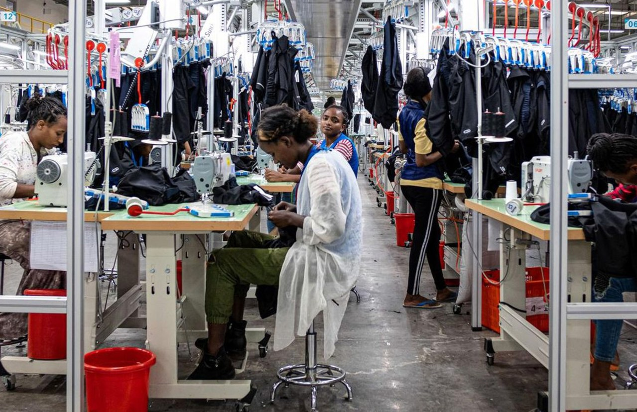 Workers sewing in a garment factory