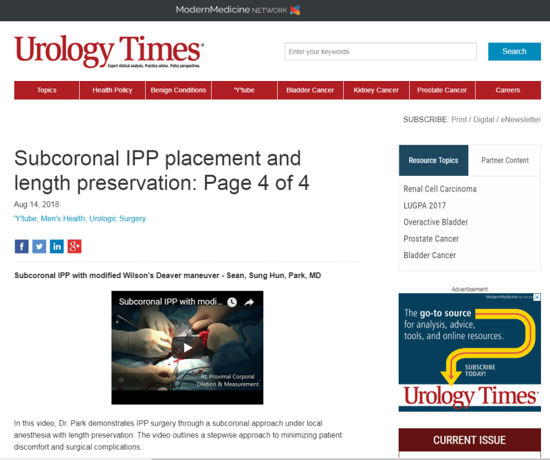 Subcoronal IPP placement and length preservation Page 4 of 4 Urology Times