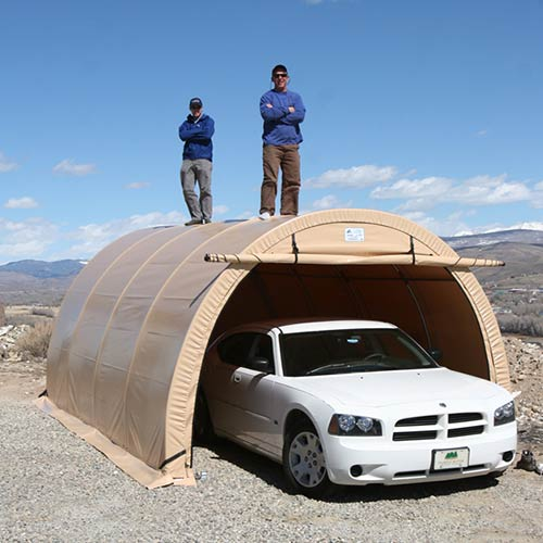 Car-Port-Quonset-Hut-SQ-Two-Men-Atop1