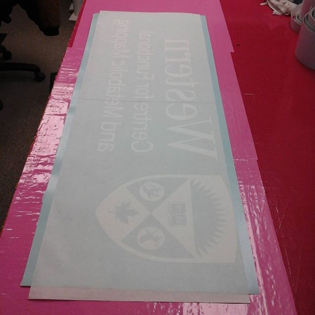 Reverse vinyl letters masked