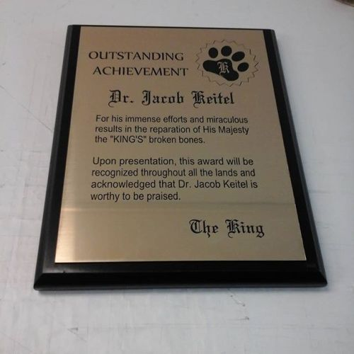 Laser plaque on black MDF