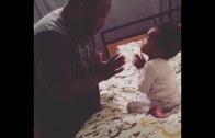 Father and baby arguing