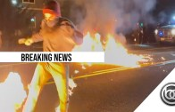 Protester on fire