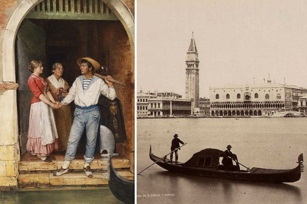 Departure of the Gondoliers. Painting by Gustav Holweg-Glantschnigg 1882 | Venice. Panorama taken from the Island of St. George and a gondola. Photo by Carlo Naya (1800s.
