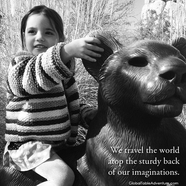 We travel the world atop the sturdy back of our imaginations, Sasha Martin. Plus dozens of other inspiring quotes from around the world.