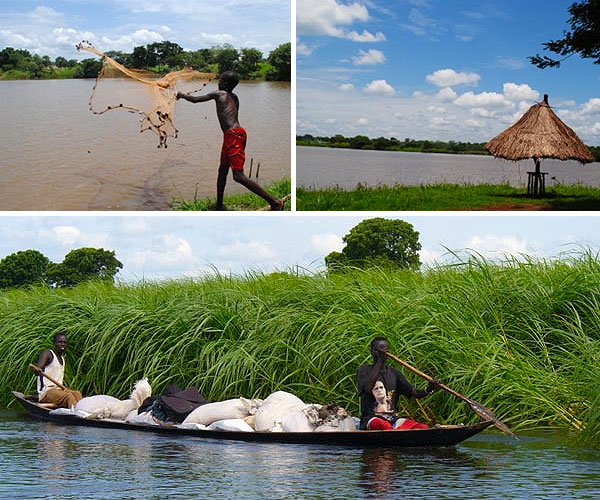 Local boy fishing at Lake Kazana in Maridi area - Equatoria region of South Sudan. Lake Kazana and scenic beauty of Maridi area.  Photos by Akashp65. Boat on the White Nile, Photo by  Andreas  Benutzer.