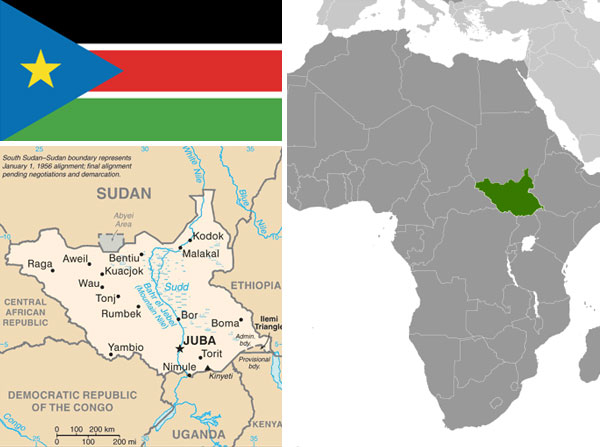 Maps & Flag of South Sudan courtesy of the CIA World Factbook.