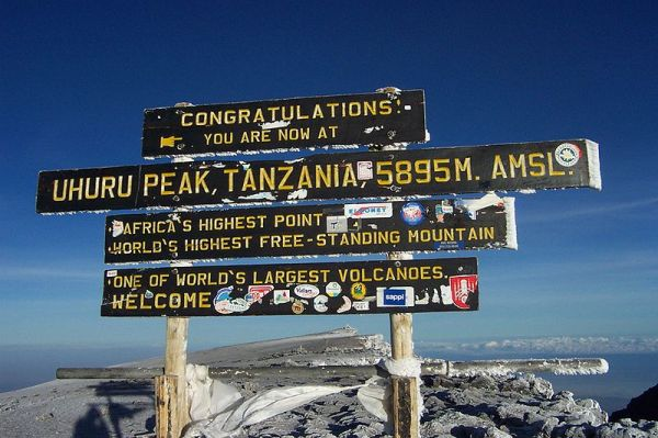 Sign at Uhuru Peak, Mt Kilimanjaro, Tanzania, Africa. Photo by Arne D.