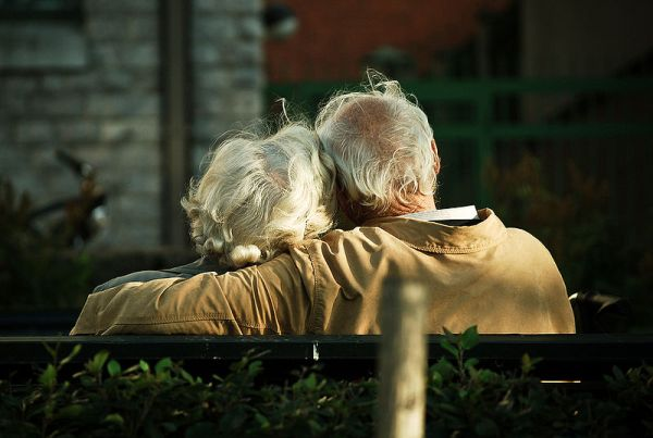 A older couple in love