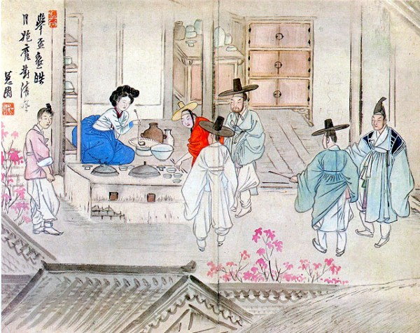 """Holding a drinking party"" (transliteration:Jusa geobae) from Hyewon pungsokdo by 19th-century Korean painter, Hyewon. Original stored at Gansong Art Museum in Seoul, South Korea."