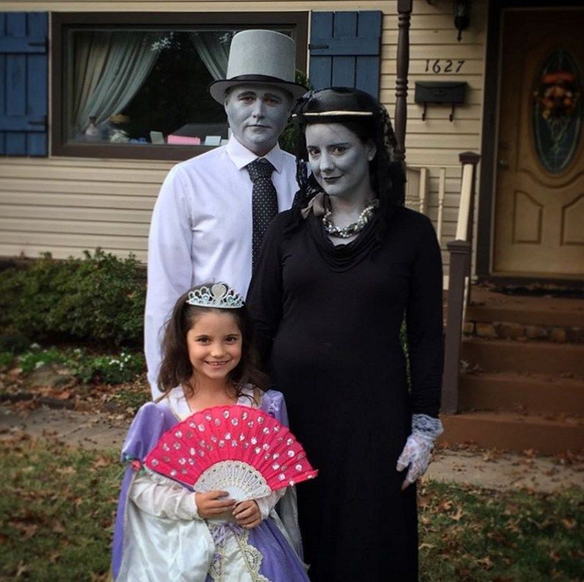 Dressed as silent film stars for Halloween.