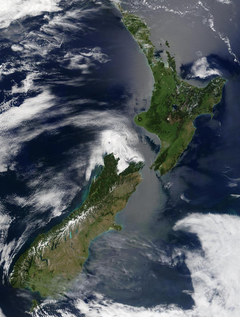 """Satellite image of New Zealand in December 2002"" by Unknown - Taken from NASA's Visible Earth: [1]. Licensed under Public Domain via Wikimedia Commons - https://commons.wikimedia.org/wiki/File:Satellite_image_of_New_Zealand_in_December_2002.jpg#/media/File:Satellite_image_of_New_Zealand_in_December_2002.jpg"