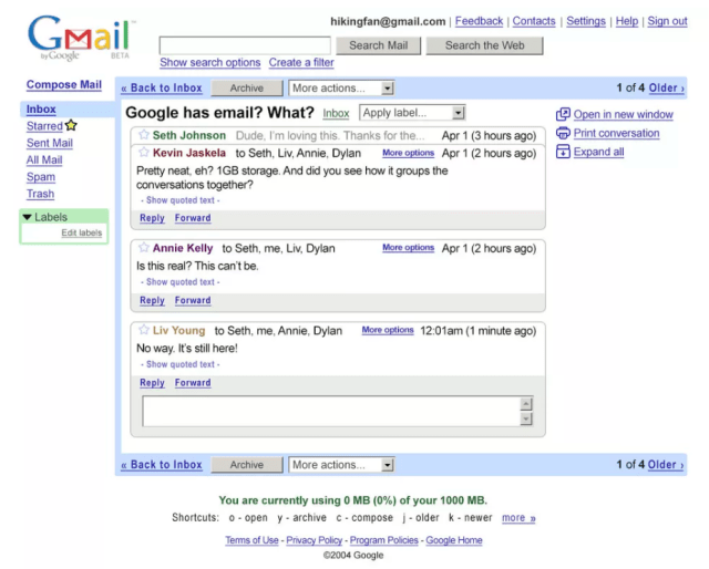 How Gmail Looked in 2004