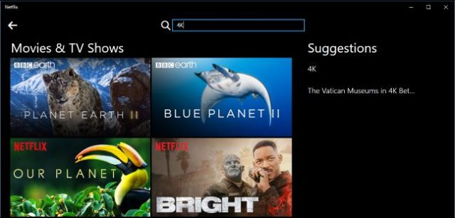 Netflix 4K Movies and Tv Shows