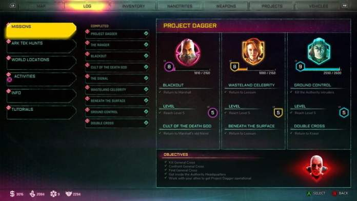 Rage 2 Menu, Objectives, Log