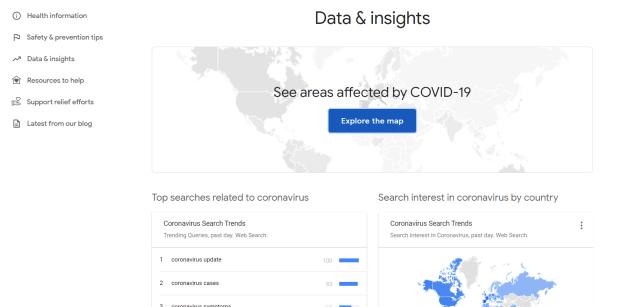 Google's Coronavirus website