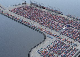 view from the sky of a container terminal
