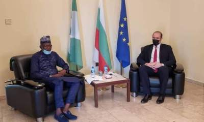 Seated, Engineer Abubakar Bashir Gegu, Kogi State Commissioner for Solid minerals and natural Resources and Mr Yanko V. Yordanov, Ambassador on Extraordinary and Plenipotentiary who represented the President of Bulgaria