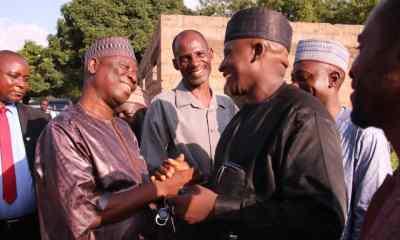Nasarawa Speaker, Ibrahim Balarabe Abdullahi (L) in a Handshake with Political associate