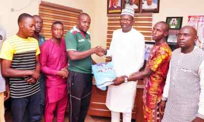 Kogi State Commissioner for Solid Minerals and Natural resources, Engr. Bashir Gegu was 3rd by (R) and delegation of the Lion Heart Association