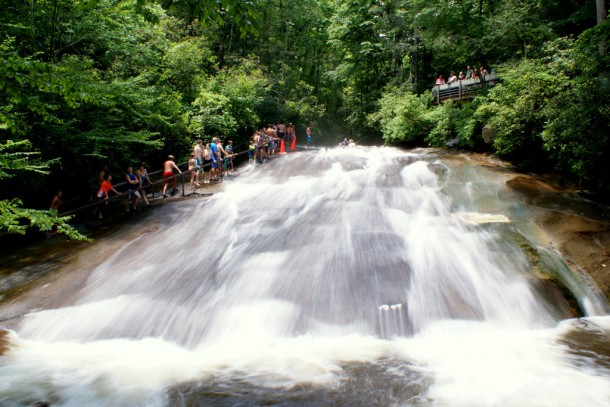 Sliding Rock, in Pisgah National Forest, is one of the region's most popular destinations. Photo via Wikipedia/Lincolnh