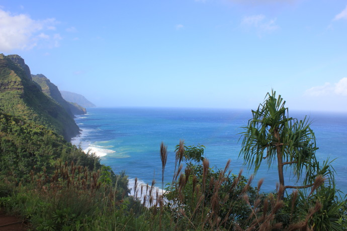 Well-deserved view from the Kalalau Trail.