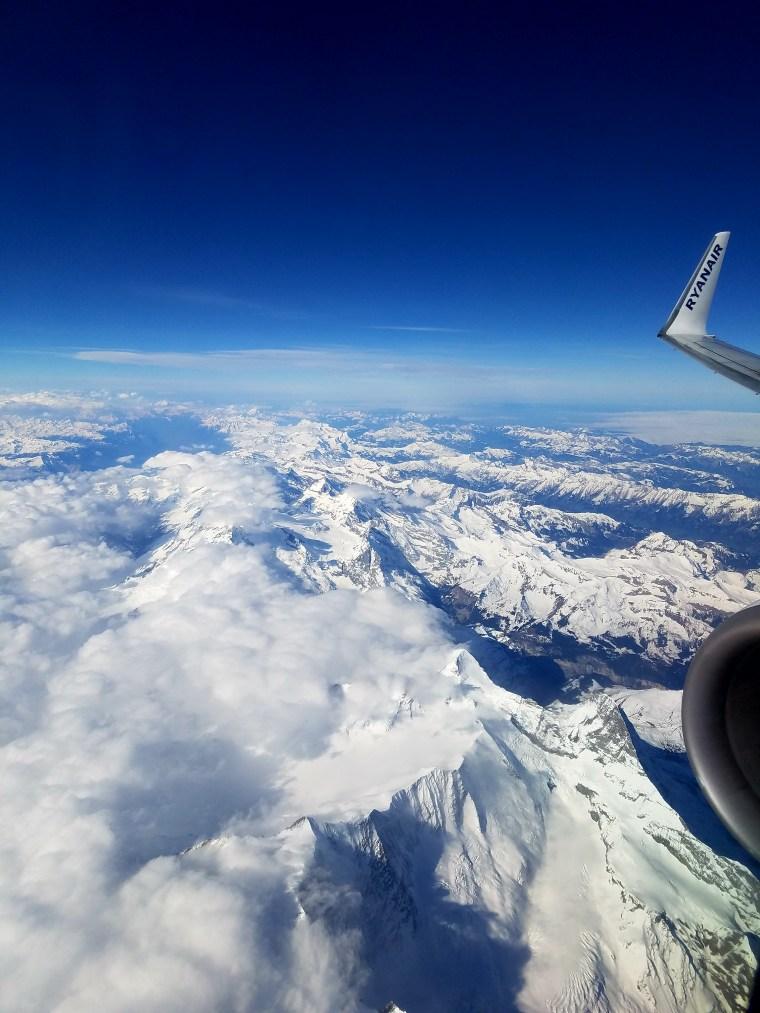 """Flying from Paris to Bergamo, Italy over the French and Italian Alps."" - Member William B."