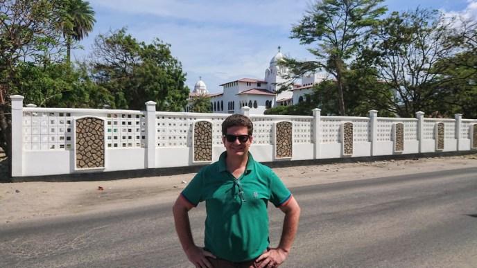Tim Staermose in front of Ocean Rd Hospital in Dar es Salaam